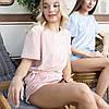 Плюшевая пижама (футболка и шорты) голубая, фото 2