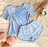 Плюшевая пижама (футболка и шорты) голубая, фото 3