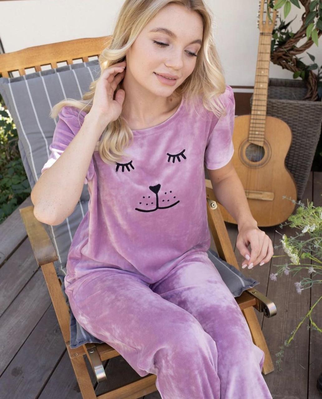 Плюшевая пижама (футболка и штаны) Сиреневая
