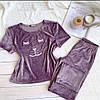 Плюшевая пижама (футболка и штаны) Сиреневая, фото 2