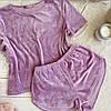 Плюшевая пижама (футболка и шорты) Сиреневая, фото 2
