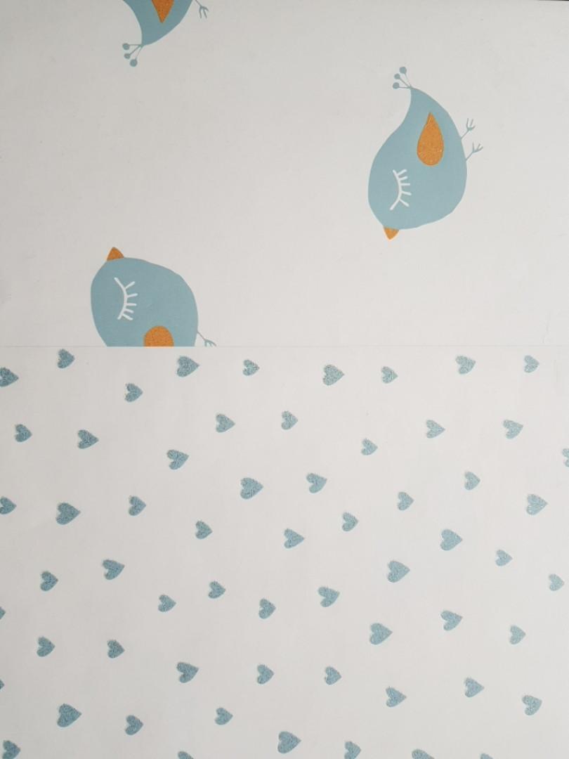 Обои флизелиновые эко Decoprint 21123 Sweet Dreams детские сердечки синие с серебром на белом  0,53x10,05 м