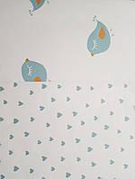 Обои флизелиновые эко Decoprint 21123 Sweet Dreams детские сердечки синие с серебром на белом  0,53x10,05 м, фото 1