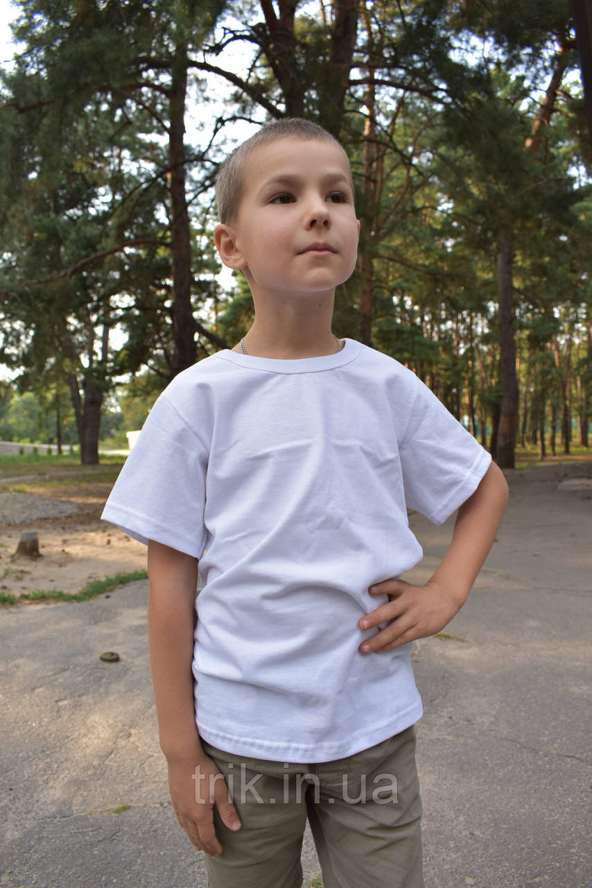 Детская белая футболка для мальчика бейка средняя