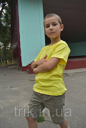 Детская футболка для мальчика желтая лимонная бейка широкая, фото 2