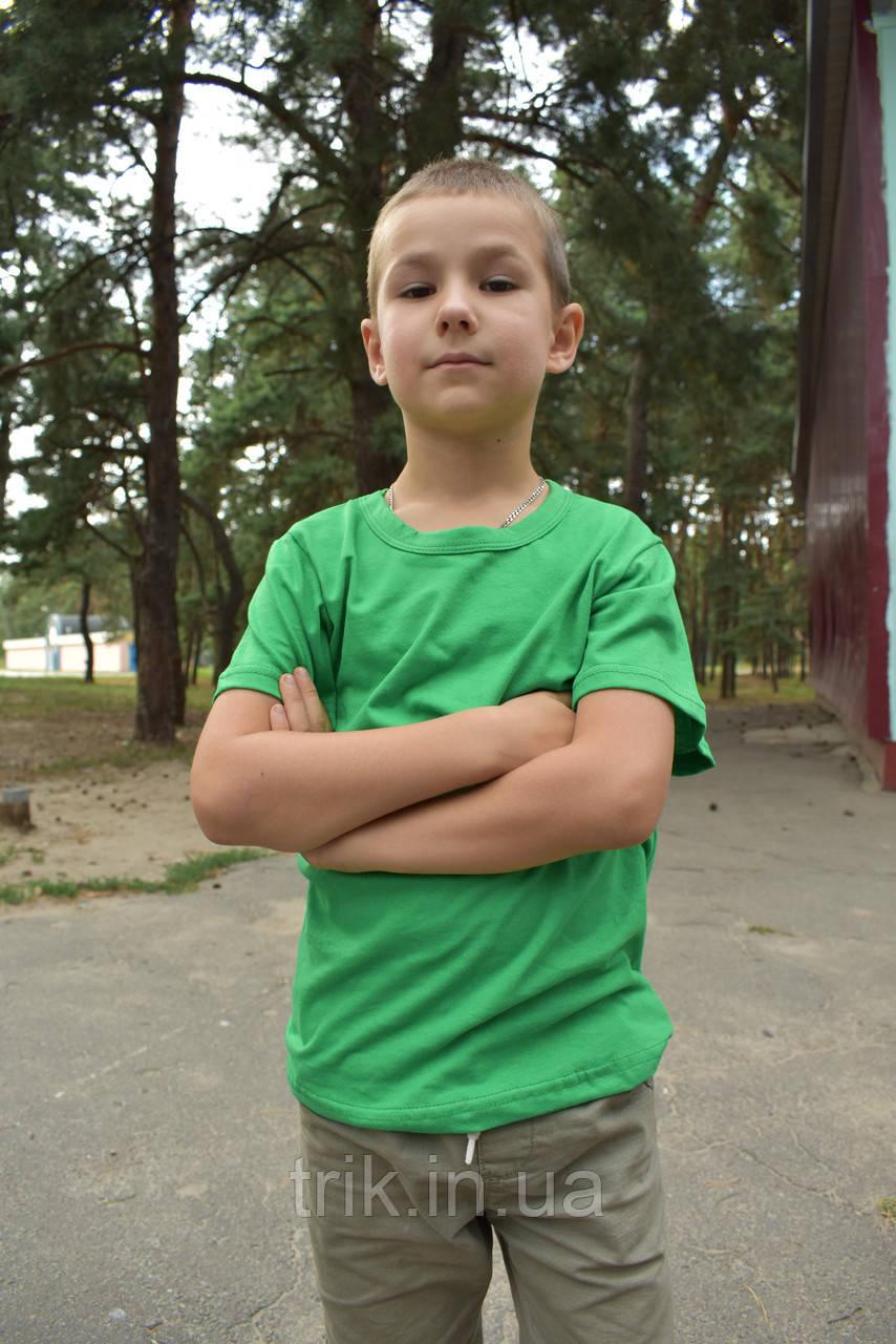 Футболка детская зелёная для мальчика бейка средняя
