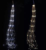 """Гирлянда """"Конский хвост"""" 200 LED: 10 линий по 2 м, нить, цвет  тёпло-белый"""