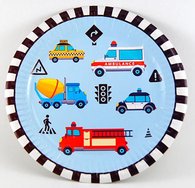 """Тарілки паперові """"Транспорт. Машинки"""", 10 шт, Набор тарелок """"Транспорт"""""""