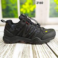 Модные мужские зимние кроссовки на меху CHOK Core-Tex черного цвета