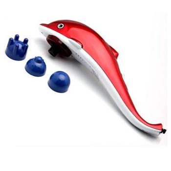 Ручной Вибромассажер Дельфин Dolphin для тела спины и шеи - 3 насадки 2 скорости массажа с инфакрамсной лампой