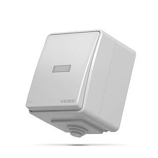 VIDEX BINERA IP65 Выключатель наружный одноклавишный с подсветкой серый VF-BNW11L-G 25725