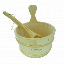 Набор Greus сосна (шайка 4л + черпак) с пластиковой вставкой