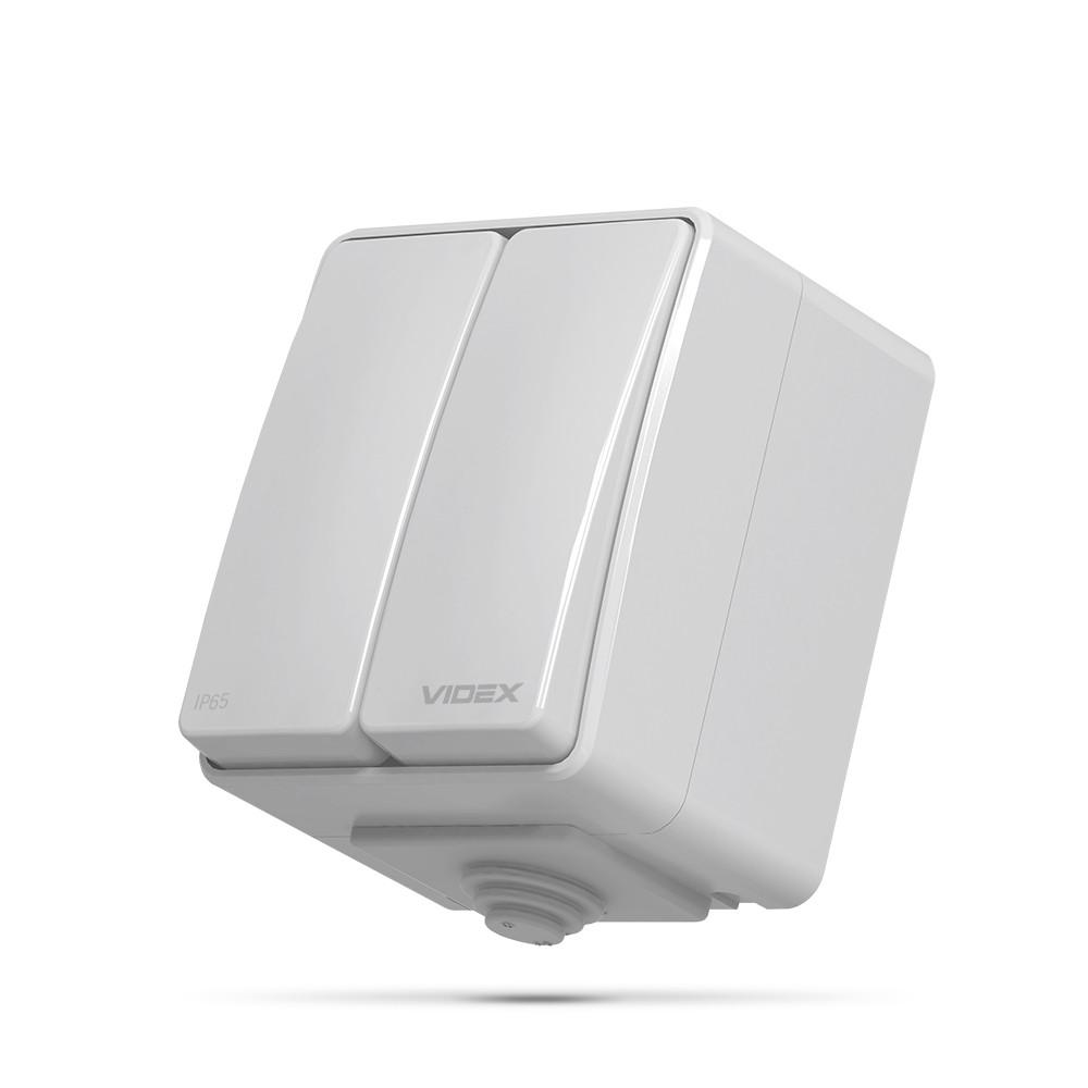 VIDEX BINERA IP65 Выключатель наружный двухклавишный серый VF-BNW12-G 25184