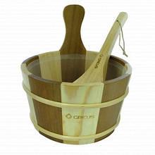 Набор Greus сосна/кедр (шайка 4л + черпак) с пластиковой вставкой