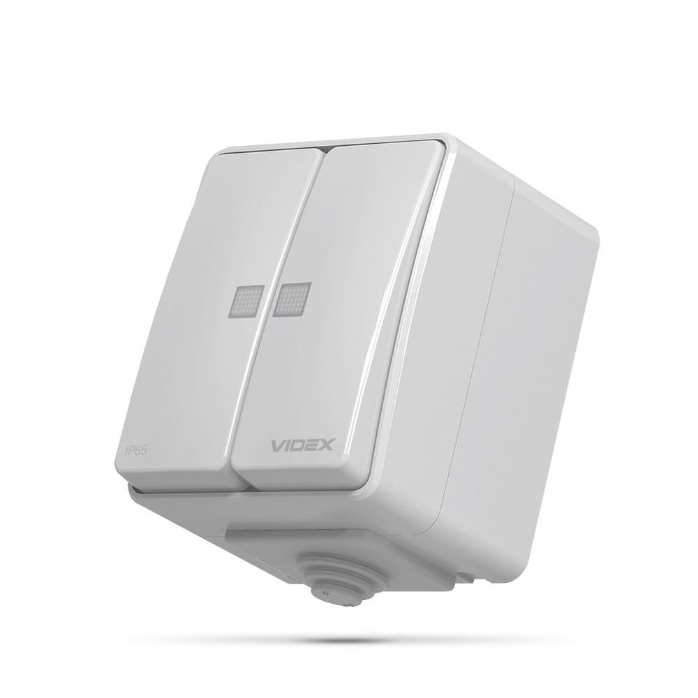 VIDEX BINERA IP65 Выключатель наружный двухклавишный с подсветкой серый 25726