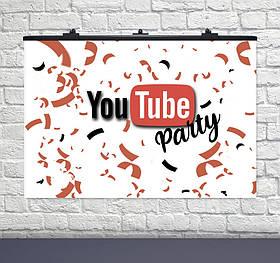 "Плакат - банер ""YOUTUBE"", 120*75 см, Банер для празника ""Ютуб"""