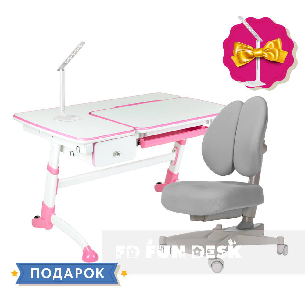 Комплект подростковая парта для школы FunDesk Amare Pink + ортопедическое кресло FunDesk Contento Grey
