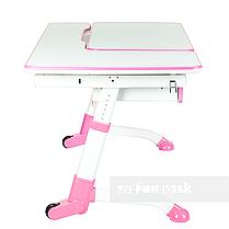 Комплект подростковая парта для школы FunDesk Amare Pink + ортопедическое кресло FunDesk Contento Grey, фото 2