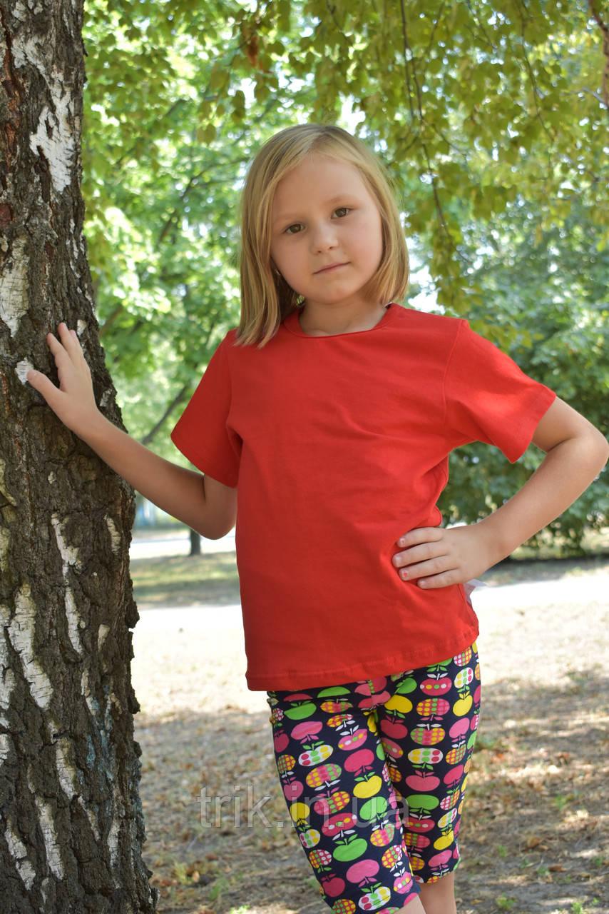 Детская красная футболка для девочек бейка средняя
