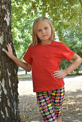 Детская красная футболка для девочек бейка средняя, фото 2