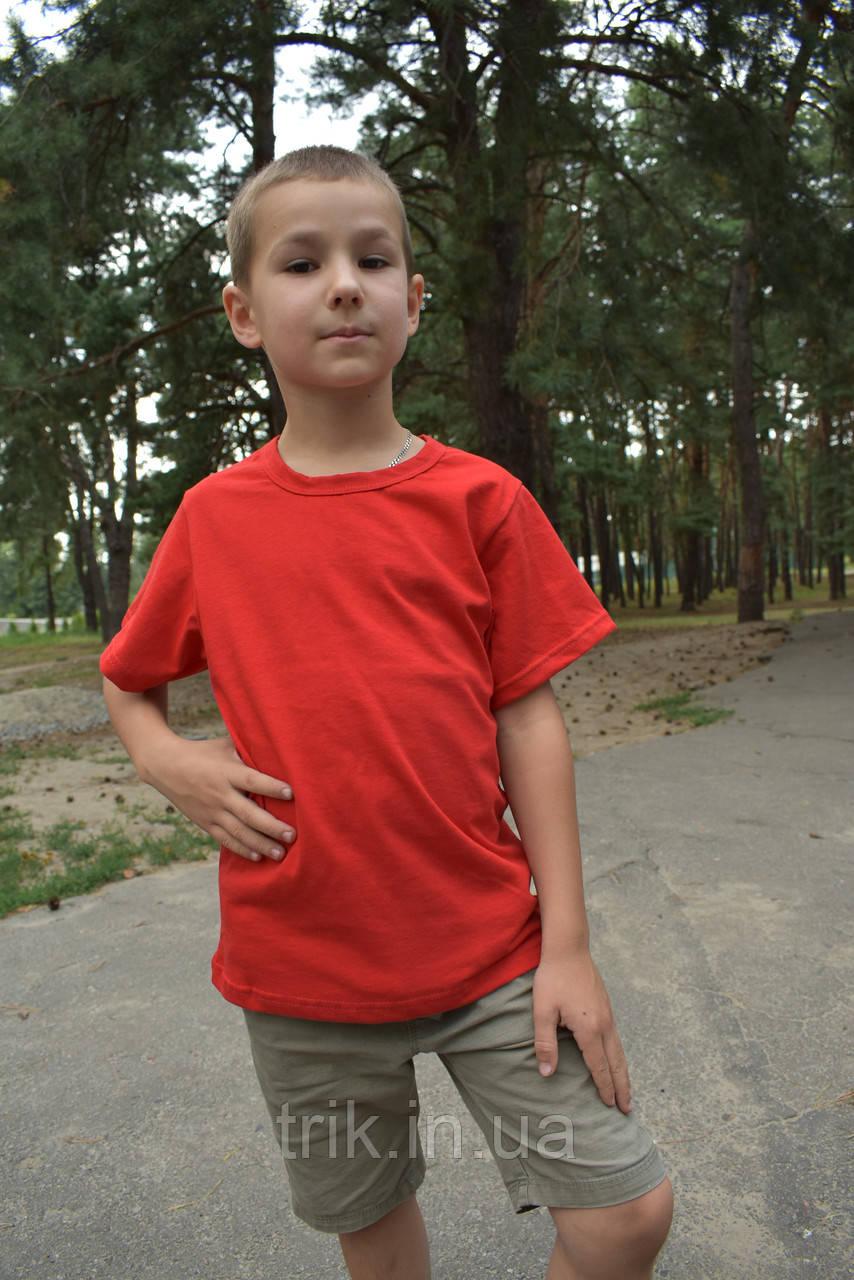 Футболка детская красная для мальчика бейка средняя