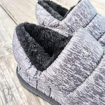Дутики сліпони автоледі сірі чорні на хутрі зимові міні уггі укорочені короткі, фото 3