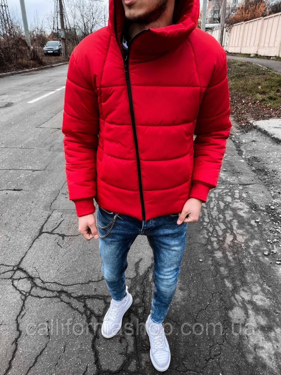 Зимняя куртка мужская красная теплая стеганая короткая с высоким воротником утепленная силиконом