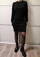 Платье женское теплое черного цвета трехнитка на флисе Exclusive Размер 42-44, 48-50