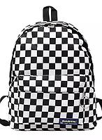 Рюкзак міський в клітку шахматна дошка, чорно-білий 40х30х12см,універсал, фото 1