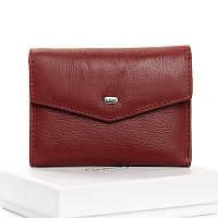 Маленький бордовый женский кошелек кожаный на кнопке WS-3 dark-red, фото 1