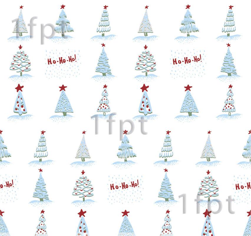 """Подарунковий папір білий крейдований ТМ """"LOVE & HOME"""" фінський принт «Ялинки снігові» 0,7x10 м"""