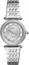 Часы наручные женские FOSSIL ES4712 кварцевые, с фианитами, серебристые, США