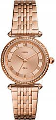 Часы наручные женские FOSSIL ES4711 кварцевые, с фианитами, цвет розового золота, США