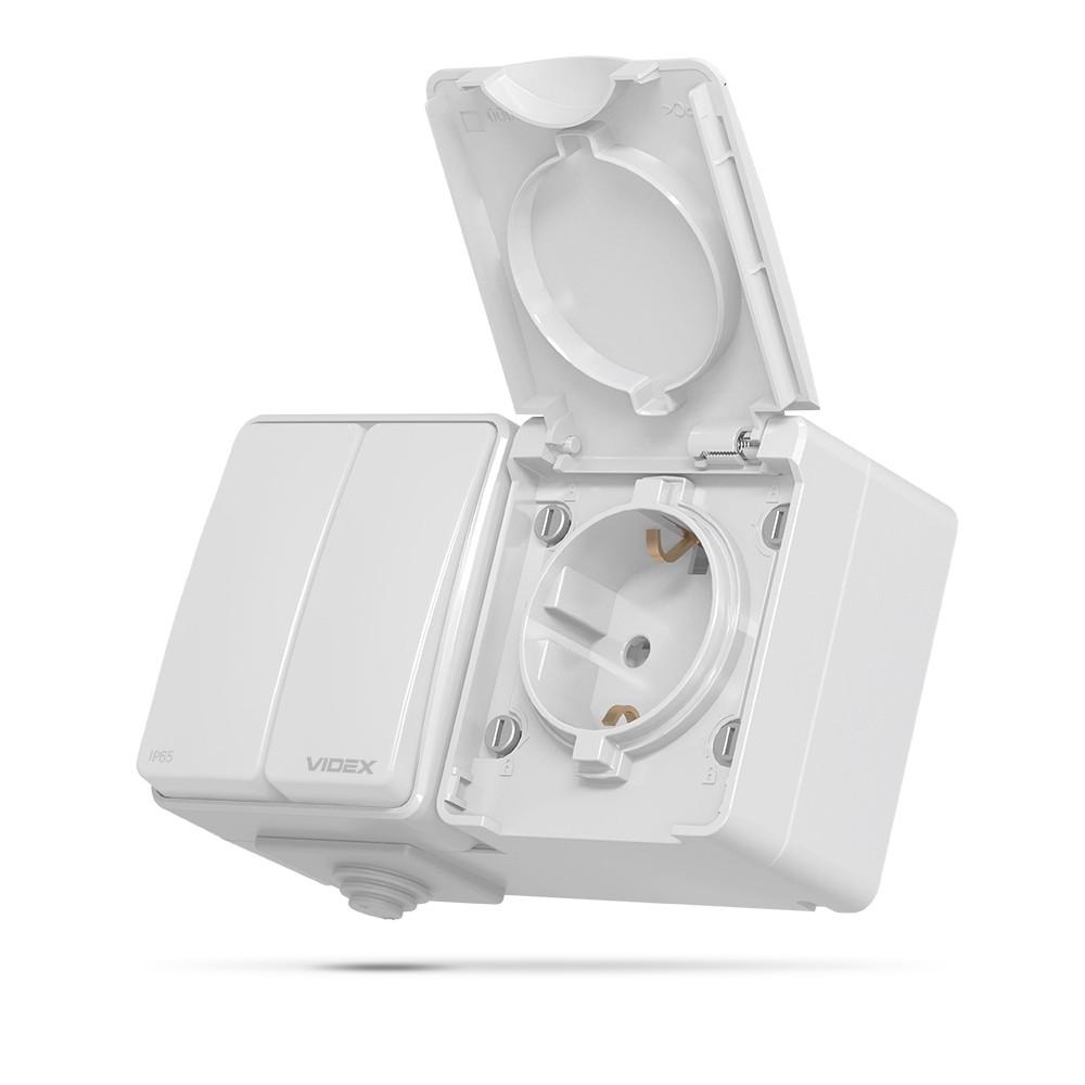 VIDEX BINERA IP65 Розетка наружная одинарная с заземлением и выключатель двухклавишный серый VF-BNW32-G 25728