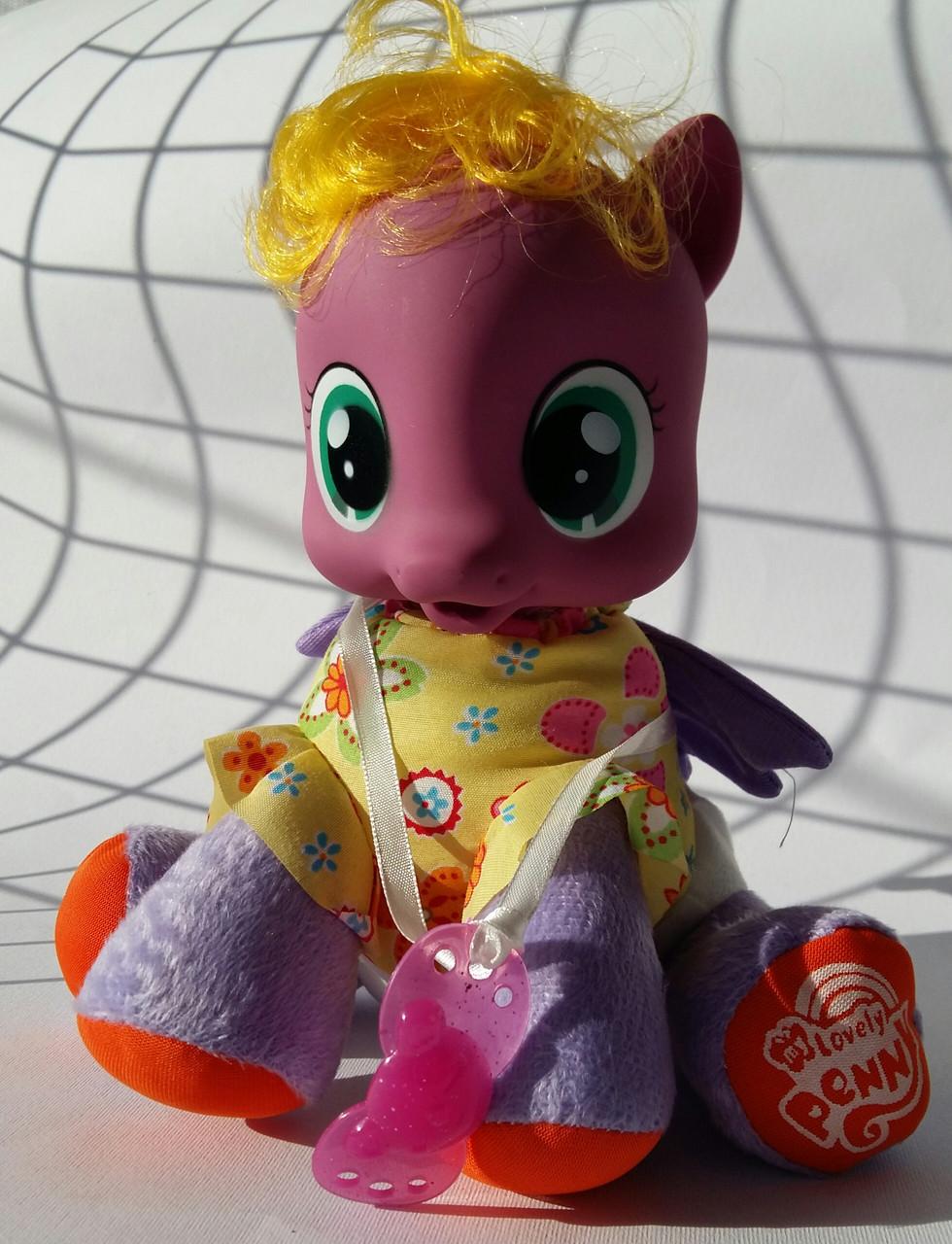 Лошадка Little Pony мягконабивная, 21см, музыка, в рюкзаке ZT9922
