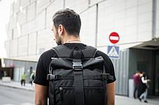 Рюкзак мужской спортивный городской черный, мужской рюкзак городской для ноутбука,рюкзак роллтоп черный EVOLVE, фото 3
