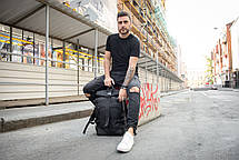 Рюкзак мужской спортивный городской черный, мужской рюкзак городской для ноутбука,рюкзак роллтоп черный EVOLVE, фото 2