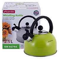 Чайник Kamille Зелений 2.5 л з нержавіючої сталі зі свистком KM-0679A, фото 1