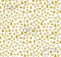 """Подарочная бумага белая мелованная ТМ """"LOVE & HOME"""" финский принт «Елки Gold» 0,7x10 м"""