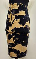 Эффектная черно-желтая юбка-карандаш с высоким поясом Solar