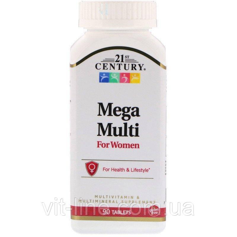 21st Century, Mega Multi мультивитамины и мультиминералы для женщин 90 таблеток