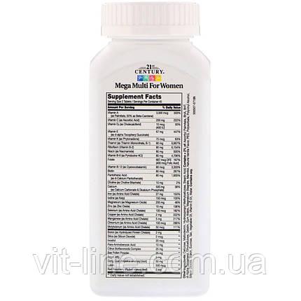 21st Century, Mega Multi мультивитамины и мультиминералы для женщин 90 таблеток, фото 2