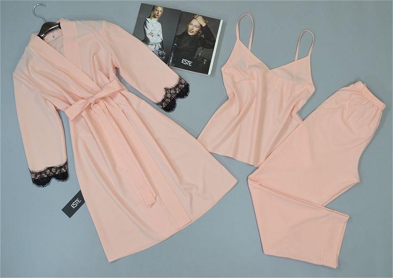 Женский комплект халат и пижама ( майка+штаны) для сна и дома.