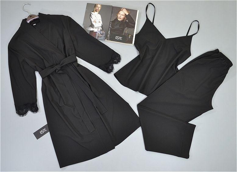 Черный комплект тройка халат и пижама ( майка+штаны) . Домашняя одежда.