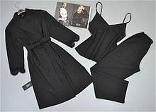 Чорний комплект трійка халат, піжама ( майка+штани) . Домашній одяг.