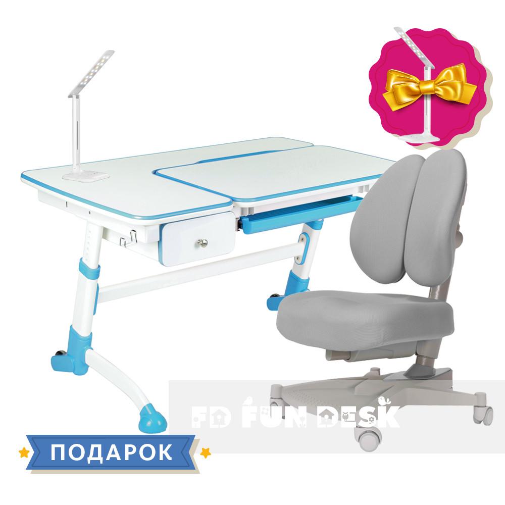 Комплект растущая парта FunDesk Amare Blue с выдвижным ящиком + кресло для подростков FunDesk Contento Grey