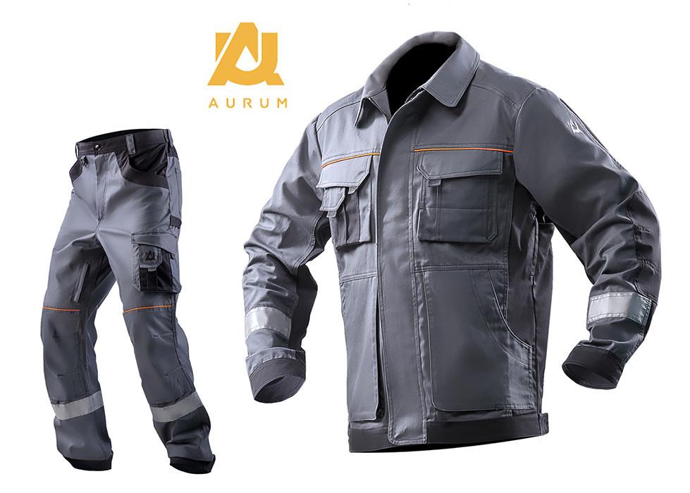 Костюм рабочий AURUM куртка и брюки из хлопка Серый, 40