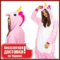 Кигуруми Розовый Единорог для взрослых с пуговицами и боковыми карманами