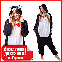 Кигуруми Черный Кот для взрослых с пуговицами для активного отдыха и комфортного сна