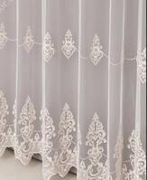 дорога гарна гардина льон у вітальню,спальню,залу бежевою вишивкою ( обробка сторін + 40 грн.), фото 1